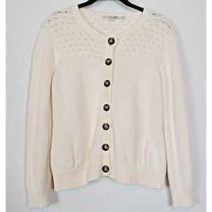 Boden Cardigan Knit cream Button up 10 P US